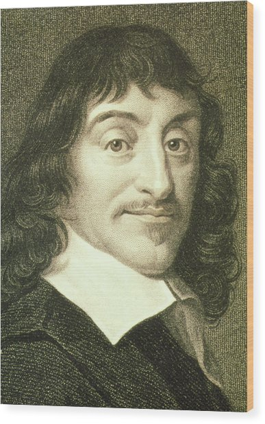 Portrait Of French Mathematician Rene Descartes Wood Print