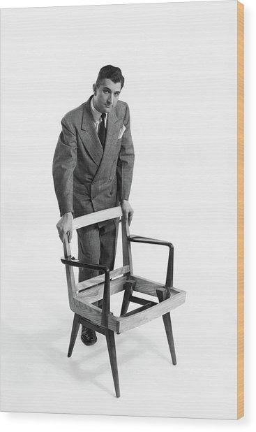 Portrait Of Furniture Designer Jens Risom Wood Print by Herbert Matter