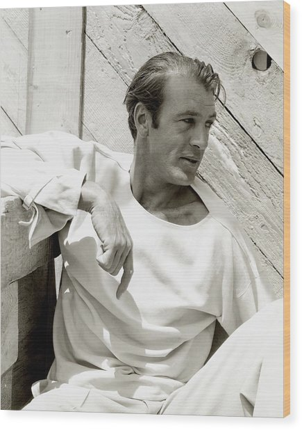 Portrait Of Gary Cooper Wood Print by George Hoyningen-Huene