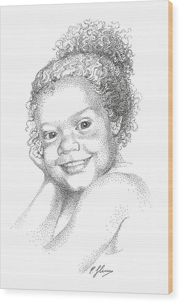 Portrait Of Girl. Commission. Stippling In Black Ink Wood Print