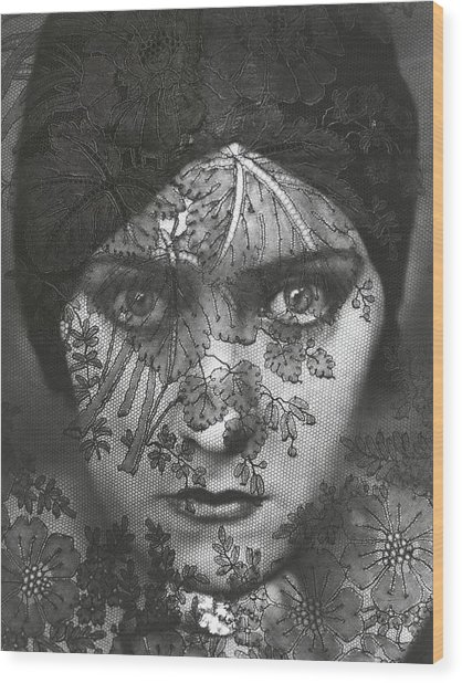 Portrait Of Gloria Swanson Behind Lace Wood Print