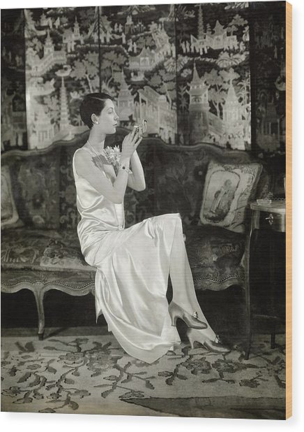Portrait Of Ilka Chase Wearing Dress By Chanel Wood Print by Charles Sheeler
