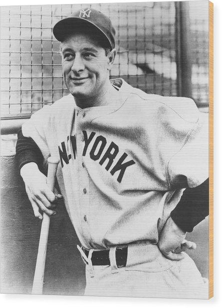 Portrait Of Lou Gehrig Wood Print