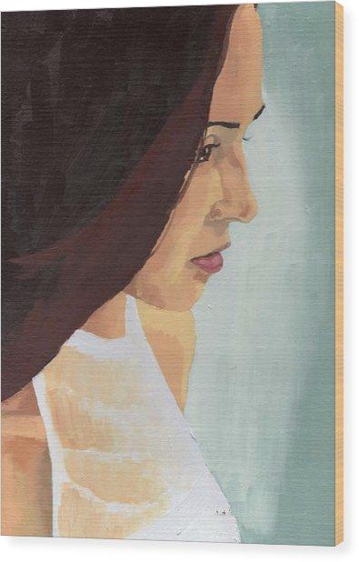 Portrait Of Miranda Wood Print by Stephen Panoushek