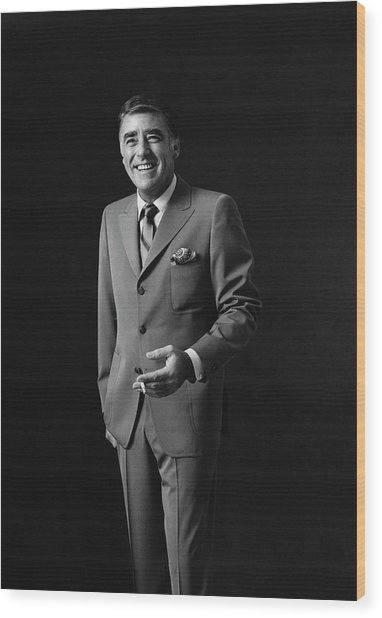 Portrait Of Peter Lawford Wood Print by Leonard Nones