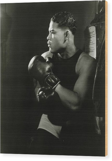Portrait Of Professional Boxer Joe Louis Wood Print by Lusha Nelson