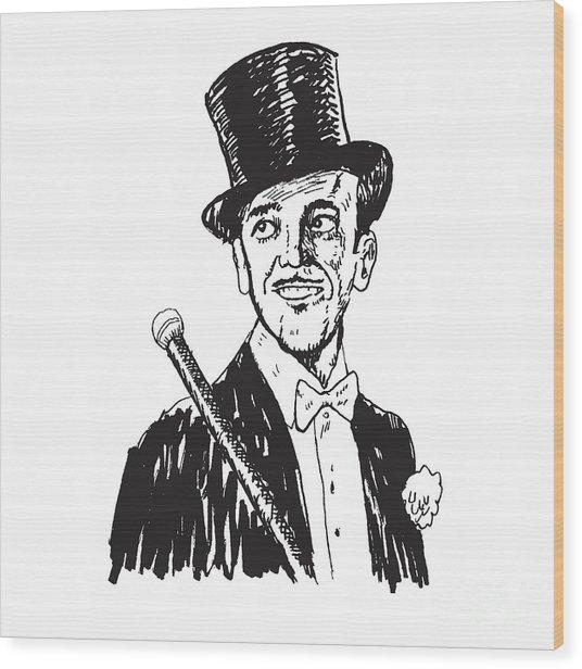 Portrait Of The Elegant Cheerful Man Wood Print