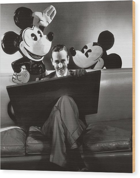 Portrait Of Walt Disney Sitting With Open Cartoon Wood Print by Edward Steichen
