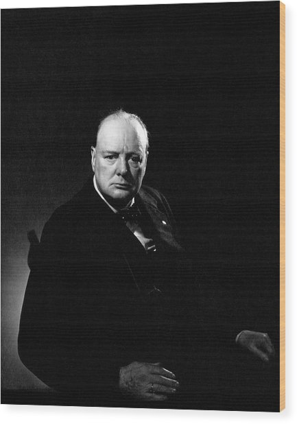 Portrait Of Winston Churchill Wood Print