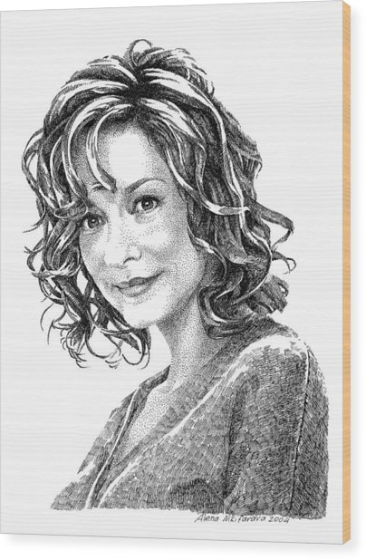 Portrait Of Woman. Stippling In Ink. Wood Print