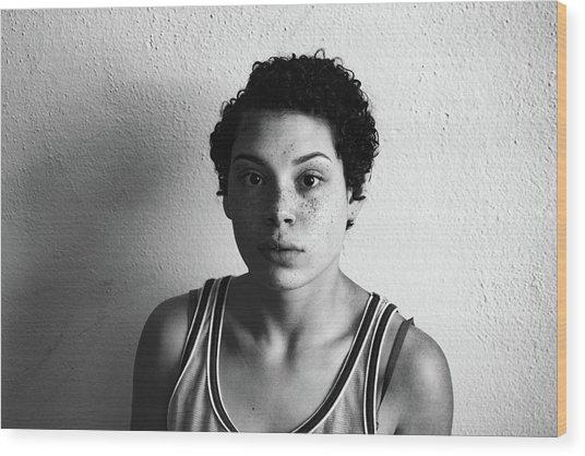 Portrait Of Young Woman Wood Print by Talia Ali / Eyeem