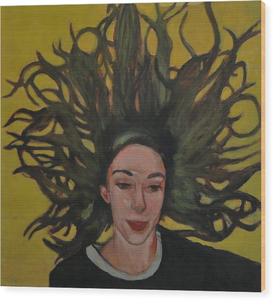 Portrait On Yellow Wood Print by Roberto Del Frate
