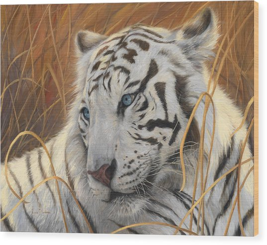 Portrait White Tiger 1 Wood Print