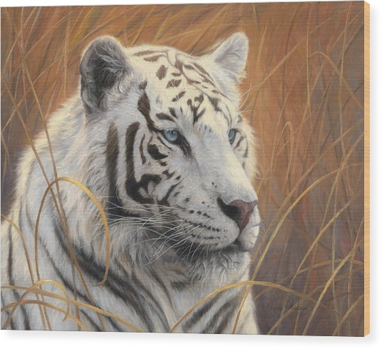 Portrait White Tiger 2 Wood Print