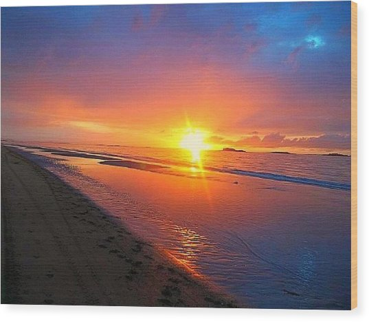 Portrush Sunset Wood Print