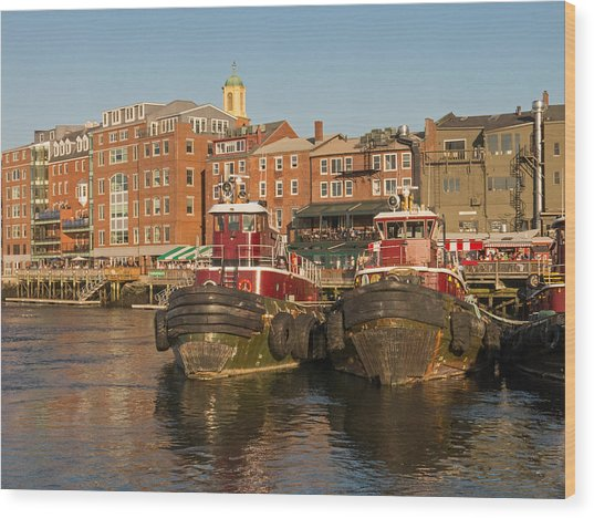 Portsmouth Harbor With Tugboats Wood Print