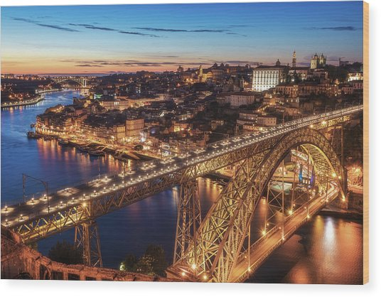 Portugal - Porto Blue Hour Wood Print by Jean Claude Castor