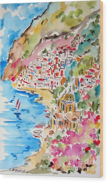 Positano Water Color Wood Print