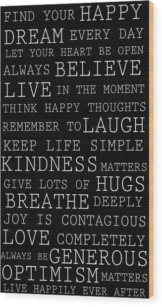 Positive Words Wood Print