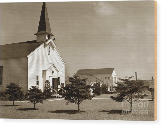 Post Chapel And Red Cross Building Fort Ord Army Base California 1950 Wood Print