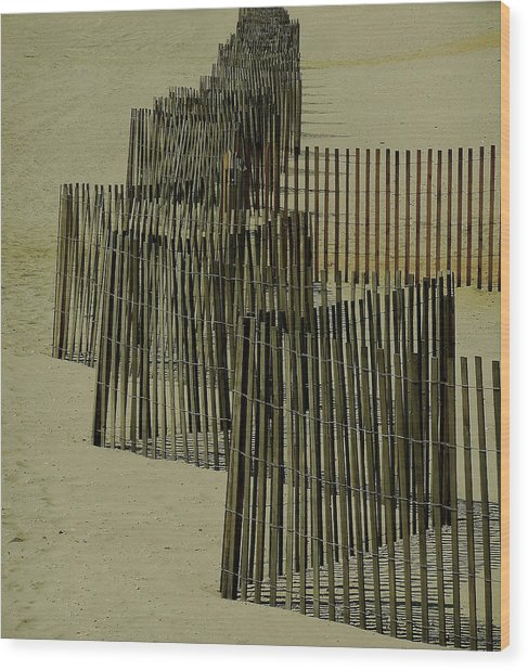 Post Hurricane Sandy Fencing Wood Print