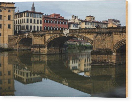 Postcard From Florence - Arno River And Ponte Santa Trinita  Wood Print