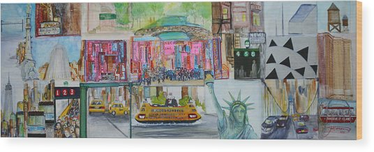 Postcards From New York City Wood Print