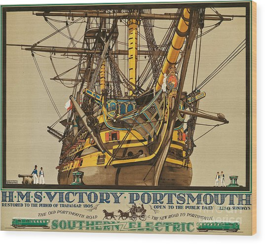 Poster Advertising Southern Electric Railways Wood Print