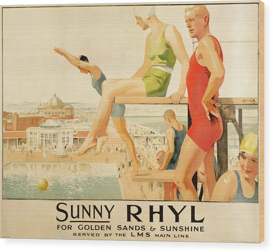 Poster Advertising Sunny Rhyl  Wood Print