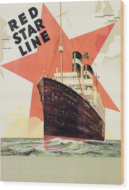Poster Advertising The Red Star Line Wood Print