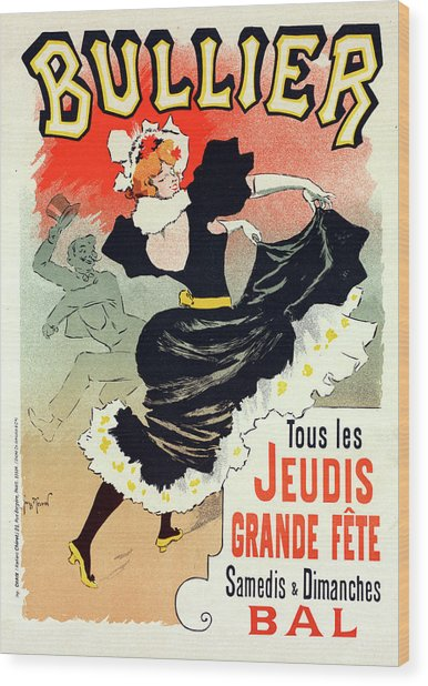Poster For Le Bal Bullier. Meunier, Georges 1869-1942 Wood Print