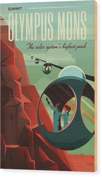 Poster For Tours Of Olympus Mons Wood Print by Nasa/science Photo Library