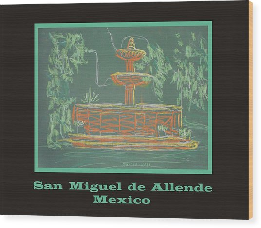 Poster - Green Fountain Wood Print by Marcia Meade