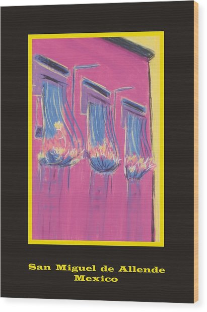 Poster - Pink Balconies Wood Print by Marcia Meade