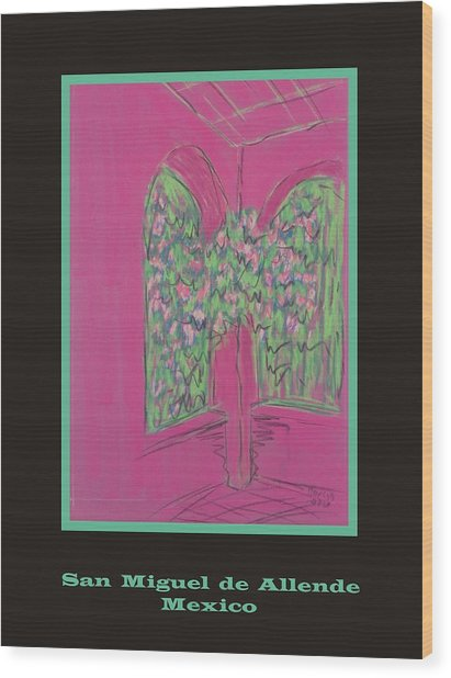 Poster -  Pink Patio Wood Print by Marcia Meade