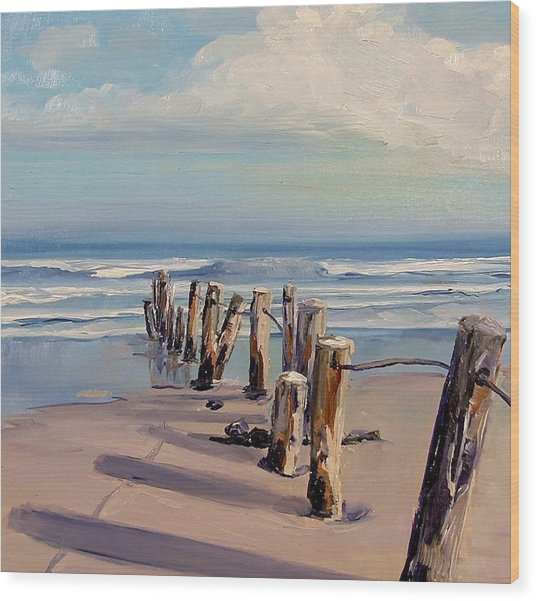Posts Just Touch The Water Wood Print by Dianna Poindexter
