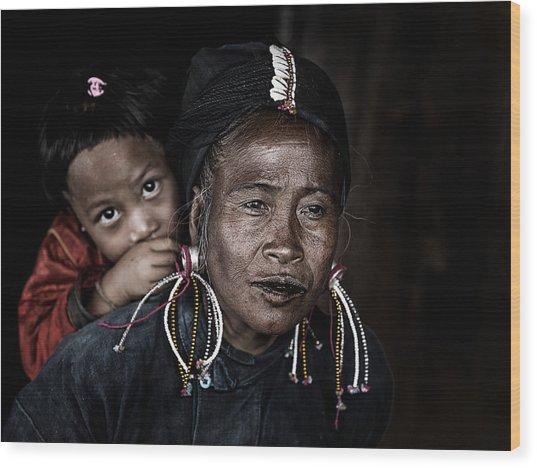 Potrait Myanmar Wood Print