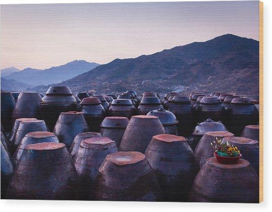 Pots Of Plum Wood Print
