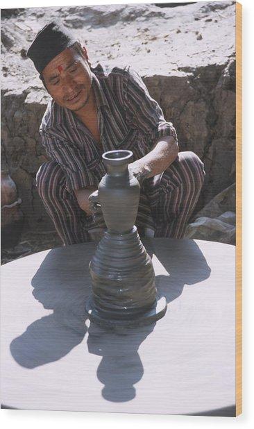 Potter At Work In Bhaktapur Wood Print
