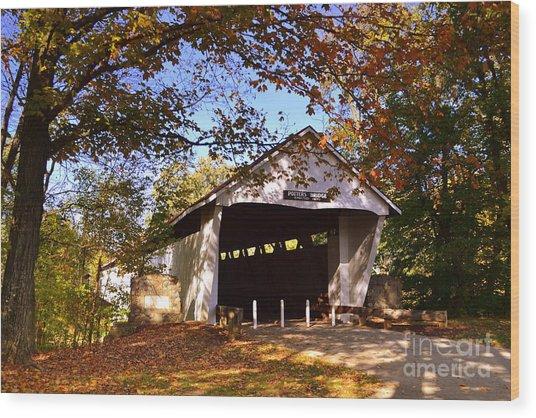 Potter's Bridge In Fall Wood Print