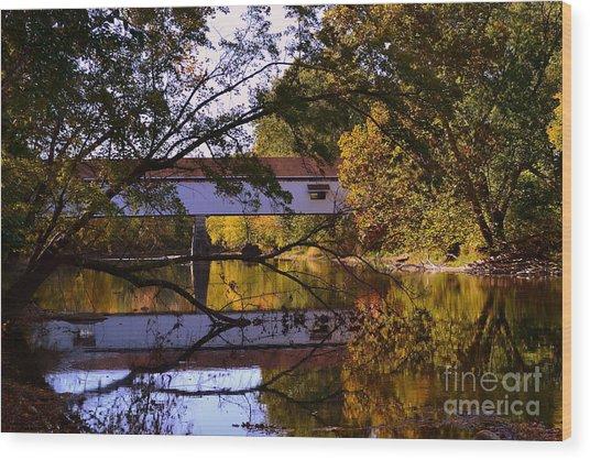 Potter's Covered Bridge Reflection Wood Print