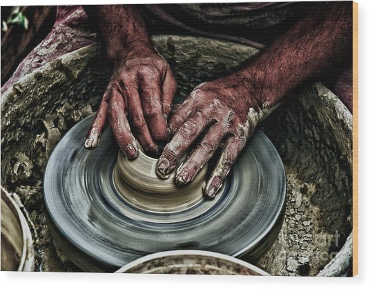 Potters Wheel  Wood Print