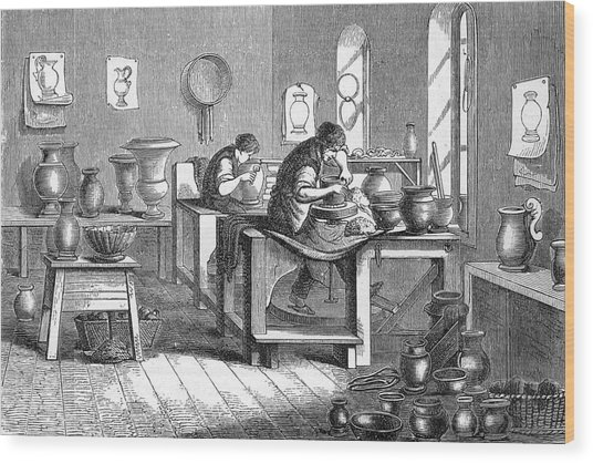 Potters Working With The Wheel Wood Print