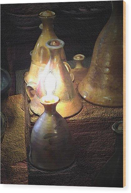 Pottery Oil Lamp  Wood Print
