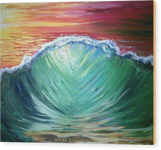 Pounding Shorebreak Wood Print by Joe Fussner
