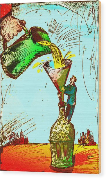 Pouring Liquid Gold Into Bottle Wood Print by Vasily Kafanov