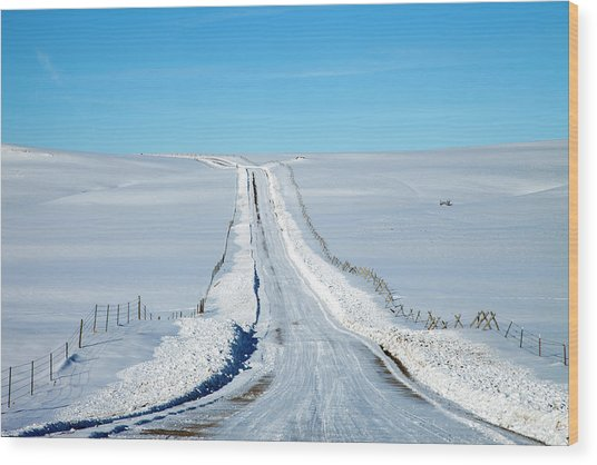 Pov Of Snow Covered Country Road Wood Print by Andrew Geiger
