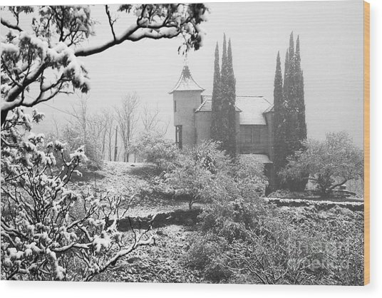 Powderbox Church With Snow In Jerome Arizona Wood Print