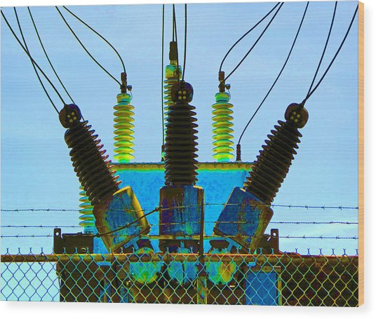 Electrical Wires Wood Print