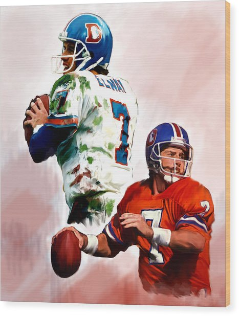 Power Force John Elway Wood Print
